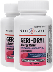 Antihistamine Diphenhydramine HCl 25 mg (Allergy Relief) 2 Bottles x 100 Mini Tablets