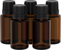 Aromatherapy 15 mL Glass Bottles with Droppers  - 5 Bottle Pack