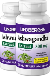 Ashwagandha Standardized Extract, 300 mg, 120 Veg Caps x 2 Bottles