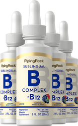 B-Complex Liquid Plus B-12 Sublingual, 1200 mcg, 2 fl oz (59 mL) Dropper Bottle x 4 bottles