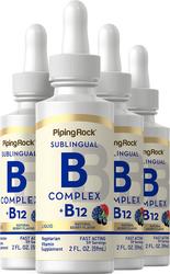 B-Complex Liquid Plus B-12 Sublingual, 1200 mcg, 2 fl oz (59 mL) Dropper Bottle x 4 bottles