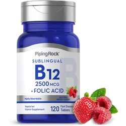 Vitamin B12 2500mcg + Folic Acid 400mcg 120 Lozenges