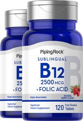Pastilhas de vitamina B12 2500 mcg + Ácido fólico 400 mcg 120 Comprimidos de dissolução rápida