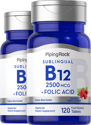 Vitamin B12 2500mcg + Folic Acid 400mcg  2 Bottles x 120 Lozenges