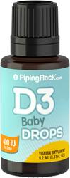 Gouttes pour bébé de vitamine liquide D3 - 400UI 365doses 9.2 mL (0.31 fl oz) Compte-gouttes en verre
