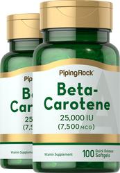 Beta Carotene (Vitamin A 25,000 IU) 100 Softgels x 2 bottles