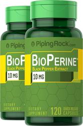 BioPerine Black Pepper Extract 10 mg 120 Capsules x 2 Bottles