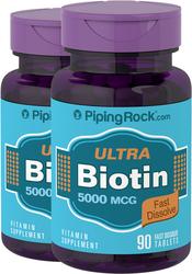 Biotin 5000 mcg  (5 mg) 2 Bottles x 90 Fast Dissolve Tablets