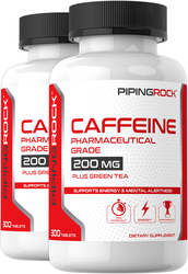 Caffeine Plus Green Tea, 200 mg, 300 Tablets x 2 Bottles