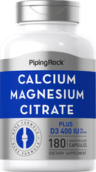 Calcium- u. Magnesiumcitrat plus D  (Cal 300mg/Mag 150mg/D3 400IU) (per serving) 180 Kapseln mit schneller Freisetzung