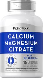 Citrate de calcium et magnésium plus D  (Cal 300mg/Mag 150mg/D3 400IU) (per serving) 180 Gélules à libération rapide