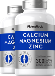 Calcium Magnesium Zinc, 300 Coated Caplets x 2 Bottles