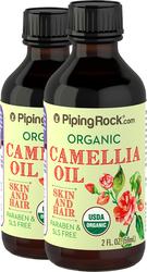 Óleo de camélia 100% puro pressão a frio (Orgânico) 2 fl oz (59 mL) Frascos