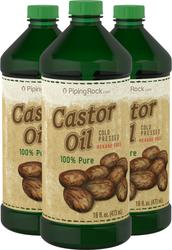 Castor Oil (Expeller Pressed) Hexane Free 3 Bottles x 16 fl oz