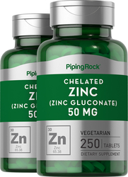 Chelated Zinc 50 mg (Gluconate) Supplement 2 x 250 Tablets
