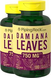 Damiana Leaves 750 mg 2 Bottles x 180 Capsules