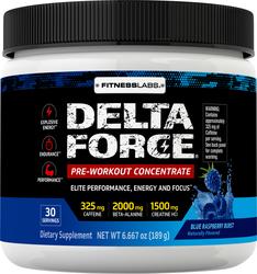 Delta Force Pre-Workout Concentrate Powder (Blue Raspberry Burst), 6.6 oz (189 g)