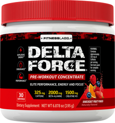 Delta Force Pre-Workout Concentrate Pwd, Knockout Fruit Punch, 6.87 oz