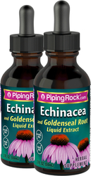 Piping Rock Echinacea & Goldenseal Liquid Extract Alcohol Free 2 Dropper Bottles x 2 fl oz (59 mL)