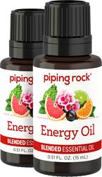 Energy Oil 100% Pure Essential Oils 2 Dropper Bottles x 1/2 oz (15 ml)