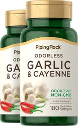 Ail et poivre 1000 mg de Cayenne 150 mg 180 Capsules molles à libération rapide
