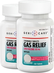 Gas Relief (Simethicone) 80 mg Mint Chewable, 120 Chewable Tablets x 2 Bottles