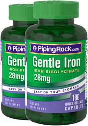 Gentle Iron 28 mg (Iron Bisglycinate) 2 x 180 Capsules