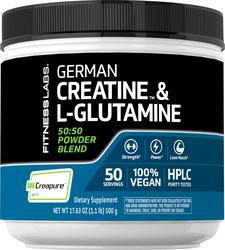 German Kreatin-Monohydrat (Creapure) & L-Glutaminpulver (50:50 Mischung) 1.1 lb (500 g) Flasche