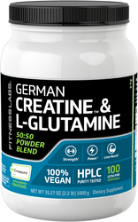 German Créatine Monohydrate(Creapure) & Poudre de L-Glutamine (50:50 Mélange) 2.2 lb (1000 g) Bouteille