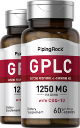 GPLC Glycine Propionyl-L-Carnitine HCl with CoQ10 2 Bottles x 60 Capsules