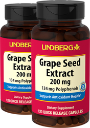Grape Seed Extract 200 mg, 120 Capsules x 2 Bottles