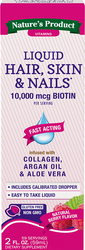 Hair, Skin & Nails with 10,000 mcg Biotin Liquid (Natural Berry) 2 fl oz (59 mL) ボトル