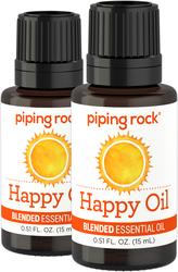 Happy Essential Oil Blend (GC/MS Tested), 1/2 fl oz (15 mL) x 2 Dropper Bottles