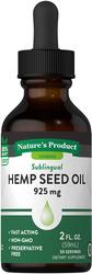 Hemp Seed Oil Liquid, 925 mg, 2 fl oz (59 mL) Bottle