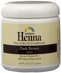 Rainbow Henna Hair Color & Conditioner (Dark Brown Sable), 4 oz (113 g) Jar