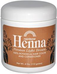 Corante para o cabelo e condicionador castanho claro Henna persa 4 oz (113 g) Boião