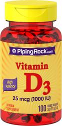 Vitamin D3 Potensi Tinggi  100 Gel Lembut Lepas Cepat