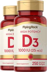 Vitamin D3 1000 IU 2 Bottles x 250 Softgels