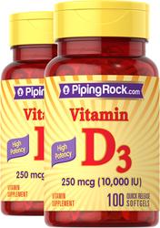 High Potency Vitamin D3 10,000 IU 2 Bottles x 100 Softgels