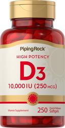 High Potency Vitamin D3, 10,000 IU, 250 Quick Release Softgels