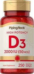 High Potency Vitamin D3 2000 IU 250 Softgels