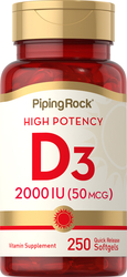 High Potency Vitamin D3 2000 IU 250 Softgels