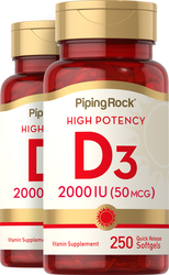 Vitamin D3 2000 IU  2 Bottles x 250 Softgels