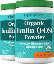 Prebiótico de inulina FOS en polvo (Orgánico) 15 oz (425 g) Botellas/Frascos