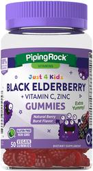 Black Elderberry + Vitamin C, Zinc Gummies (Natural Berry Burst Flavor), 50 Gummies
