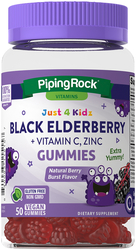 Schwarzer Holunder für Kinder + Vitamin C, Zink-Gummibärchen (natürliches Beerenaroma) 50 Vegane Gummibärchen