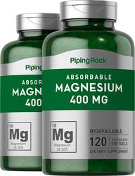 Magnesium 400 mg, 120 Softgels x 2 Bottles
