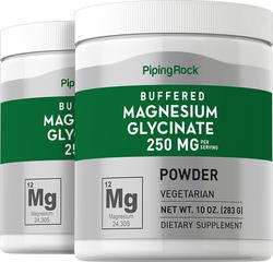 Magnesium Glycinate Powder 250 mg (per serving), 10 oz x 2 Bottles
