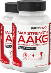 Max Strength AAKG Arginine Alpha-Ketoglutarate (Nitric Oxide Enhancer), 2 x 90 Caplets
