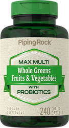Max Whole Greens Fruits & Vegetables with Probiotics Multi (no Iron), 240 Caplets